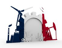 Energy and Power icons set with France flag Stock Photos