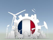 Energy and Power icons set with France flag Stock Image