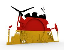 Energy and Power icons set with Germany flag Royalty Free Stock Images