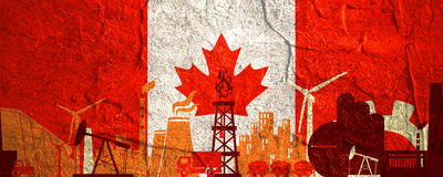 Energy and Power icons set. Header banner with Canada flag. Sustainable energy generation and heavy industry. Concrete textured Royalty Free Stock Photography