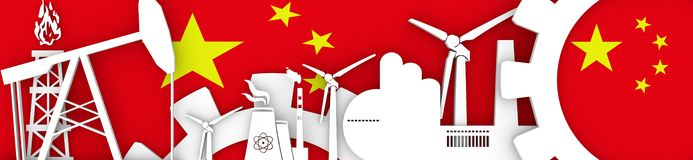 Energy and Power icons set. Header banner with China flag Royalty Free Stock Photo