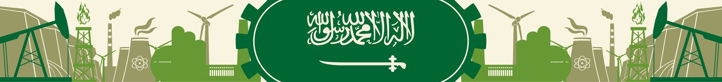 Energy and Power icons set. Header banner with Saudi Arabia flag