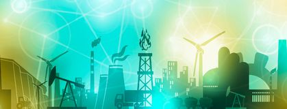 Energy and Power icons set. Header banner royalty free illustration