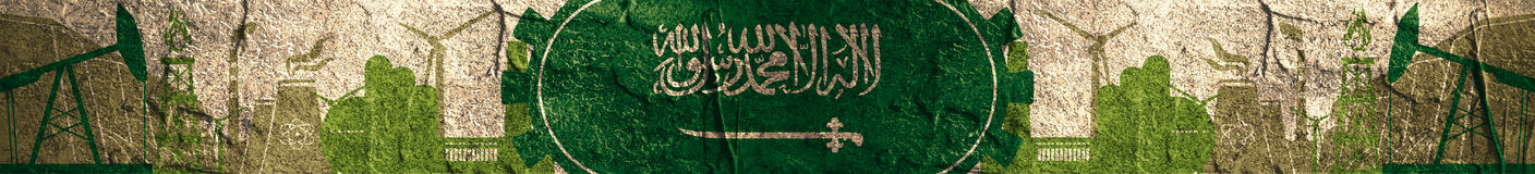Energy and Power icons set. Header with Saudi Arabia flag Royalty Free Stock Images