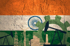 Energy and Power icons set with India flag