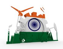 Energy and Power icons set with India flag Royalty Free Stock Photography