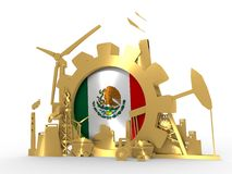 Energy and Power icons set with Mexico flag. Sustainable energy generation and heavy industry. 3D rendering. Golden material Stock Photos