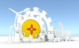 Energy and Power icons set with New Mexico flag Stock Photography
