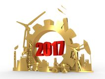 Energy and Power icons set with 2017 numbers. Sustainable energy generation and heavy industry. 3D rendering. Golden material Stock Photography
