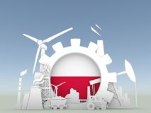 Energy and Power icons set with Poland flag Stock Image