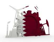 Energy and Power icons set with Qatar flag Royalty Free Stock Image