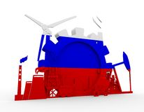 Energy and Power icons set with Russia flag Royalty Free Stock Image