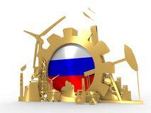 Energy and Power icons set with Russia flag. Sustainable energy generation and heavy industry. 3D rendering. Golden material Stock Images