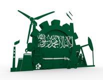 Energy and Power icons set with Saudi Arabia flag Stock Photos