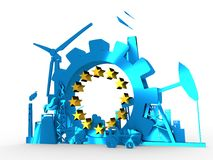 Energy and Power icons set with stars circle Stock Images