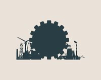 Energy and Power icons set. Sustainable energy generation and heavy industry Royalty Free Stock Image
