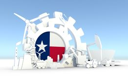 Energy and Power icons set with Texas flag. Sustainable energy generation and heavy industry. 3D rendering Royalty Free Stock Photos