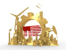 Energy and Power icons set with TTIP text. Sustainable energy generation and heavy industry. 3D rendering. Golden material Royalty Free Stock Photo