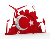 Energy and Power icons set with Turkey flag Stock Images