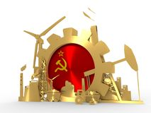 Energy and Power icons set with USSR flag. Sustainable energy generation and heavy industry. 3D rendering. Golden material Royalty Free Stock Photography