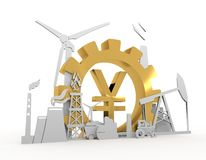 Energy and Power icons set with yen sign. Energy and Power icons set on white backdrop. Sustainable energy generation and heavy industry. 3D rendering. Golden Stock Images