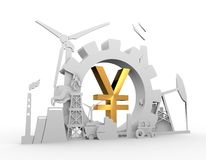 Energy and Power icons set with yen sign Royalty Free Stock Photo