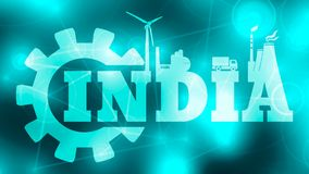 Energy and Power icons. India word. Energy and Power icons. Sustainable energy generation and heavy industry. India word build in gear Royalty Free Stock Photos