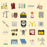 Energy power icons vector. Electricity safety power icons. Wind ecology sun energy icons illustration oil battery vector. Energy icons environment, electricity vector illustration