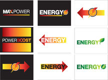 Energy, power and maximum energy symbols Stock Photos