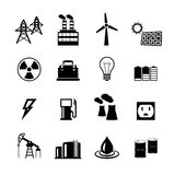 Energy power pictograms collection. Of light bulb electric battery and fossil fuels isolated vector illustration Royalty Free Stock Photography