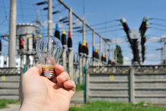 Electric bulb in the hand Stock Photography