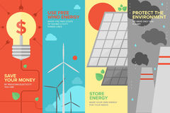 Energy and power savings flat banner set. Flat banner set of power and energy savings, natural renewable and clean source of energy for money save and Stock Photography