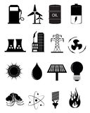 Energy And Power Source Icons Set. Vector illustration of various energy and power source icons set on a white background Stock Photography