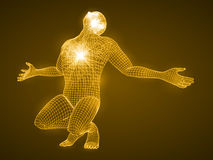 Energy of the praying man. Spiritual energy beams inside head and torso. golden color version Royalty Free Stock Photography