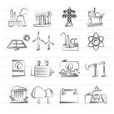 Energy producing industry and resources icons Stock Photo