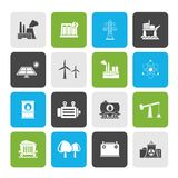 Energy producing industry and resources icons. Vector icon set royalty free illustration