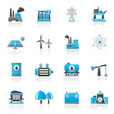 Energy producing industry and resources icons Royalty Free Stock Images