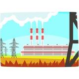 Energy producing station, electricity generation plant horizontal vector illustration. On a white background royalty free illustration