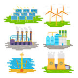 Energy producing stations infographic elements. Vector flat design Royalty Free Stock Images