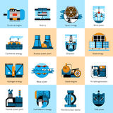 Energy production flat line icons set Royalty Free Stock Photography