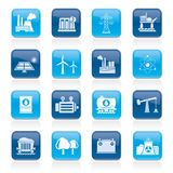Energy produsing industry and resources icons Stock Images
