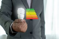 Energy rating chart Eco man energy efficiency scale image. W stock photography