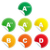 Energy rating class stickers Stock Images