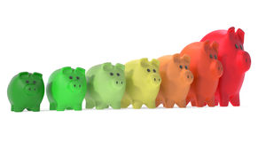 Energy rating piggy banks. Concept of good energy rating saving money royalty free stock photography