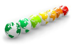 Energy rating scale from Earth globes Stock Photography