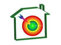 Energy ratings house target. Energy ratings house with a target and arrow at the centre Royalty Free Stock Image
