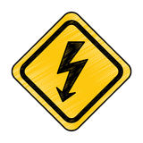 Energy ray caution sign Royalty Free Stock Photo