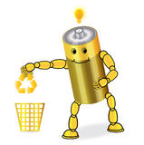 Energy recycling. Yellow Energy recycling battery figure Royalty Free Stock Photography