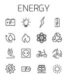 Energy related vector icon set. Well-crafted sign in thin line style with editable stroke. Vector symbols isolated on a white background. Simple pictograms Royalty Free Stock Photography