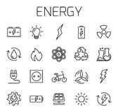 Energy related vector icon set. Well-crafted sign in thin line style with editable stroke. Vector symbols isolated on a white background. Simple pictograms Stock Images